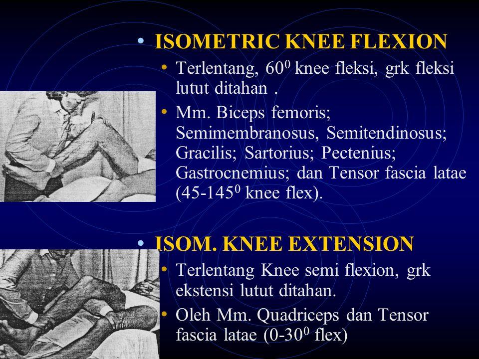 ISOMETRIC KNEE FLEXION Terlentang, 60 0 knee fleksi, grk fleksi lutut ditahan. Mm. Biceps femoris; Semimembranosus, Semitendinosus; Gracilis; Sartoriu