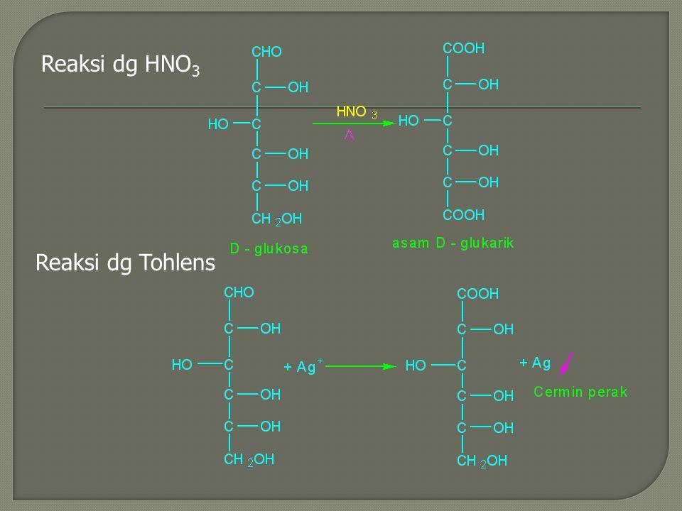 Reaksi dg HNO 3 Reaksi dg Tohlens