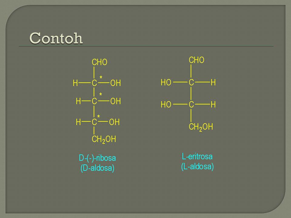 - Pada maltosa, ikatan glikosidik terjadi pada atom C-1' dari satu glukosa dengan atom C-4 dari glukosa yang lain, sehingga ikatannya disebut ikatan 1',4-glikosidik - Karbon anomerik di unit glukosa sebelah kanan pada maltosa dalam bentuk hemiasetal, sehingga akan dapat berkesetimbangan dengan struktur terbuka.