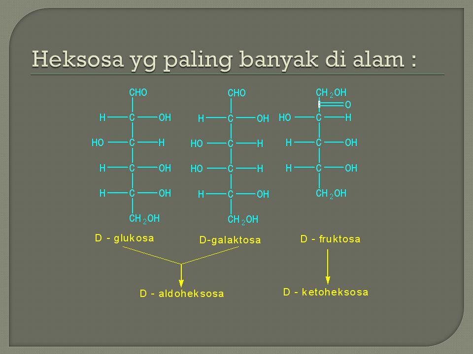 - Oksidasi aldosa oleh pereaksi Fehling's, Benedict's atau Tohlen's membentuk asam monokarboksilat  Asam Aldonat.