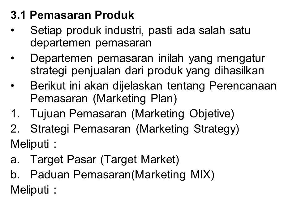 3.1 Pemasaran Produk Setiap produk industri, pasti ada salah satu departemen pemasaran Departemen pemasaran inilah yang mengatur strategi penjualan da