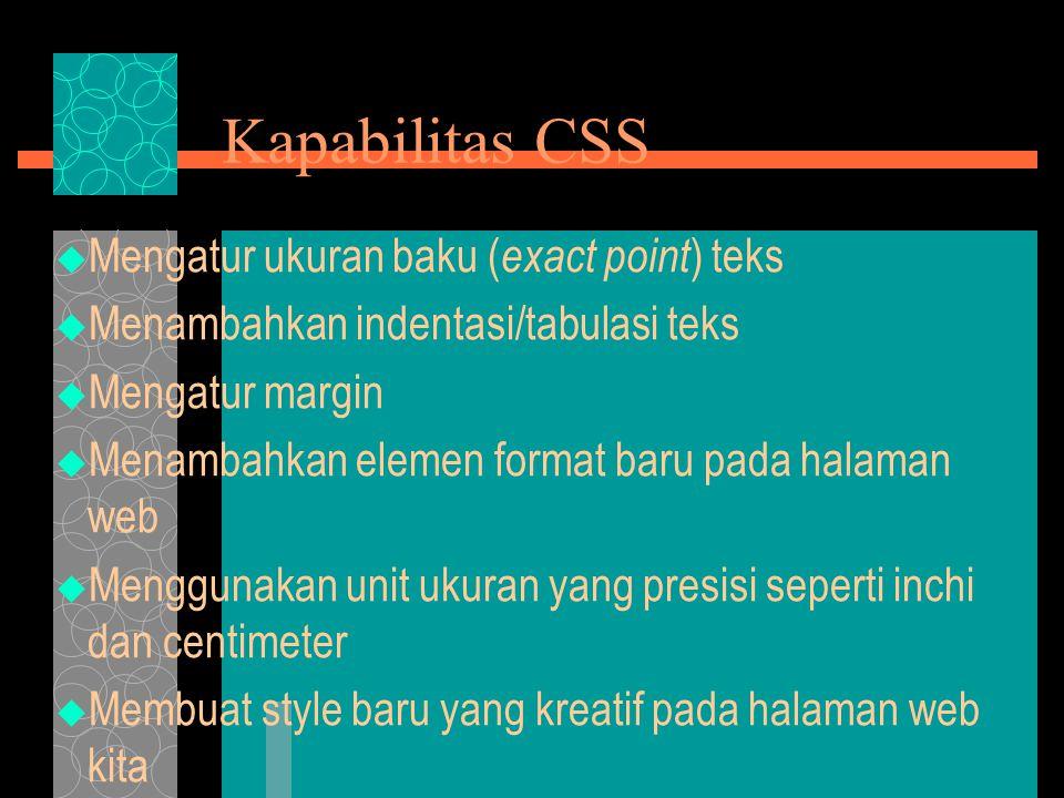 Kapabilitas CSS  Mengatur ukuran baku ( exact point ) teks  Menambahkan indentasi/tabulasi teks  Mengatur margin  Menambahkan elemen format baru pada halaman web  Menggunakan unit ukuran yang presisi seperti inchi dan centimeter  Membuat style baru yang kreatif pada halaman web kita