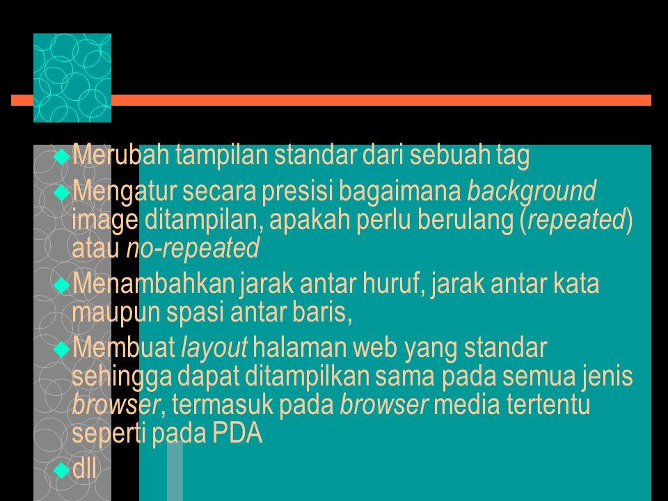 STYLE  Style merupakan corak/mode/gaya yang diberikan pada suatu elemen dari dokumen (html)  Secara default semua komponen sudah mempunyai style standar ( template )  Misalnya tag mempunyai style: Font : Times New Roman; Size : 6 (24pt); Text Decoration : Bold; Line- height = 24pt; –INI JUDUL DENGAN H1 STANDAR