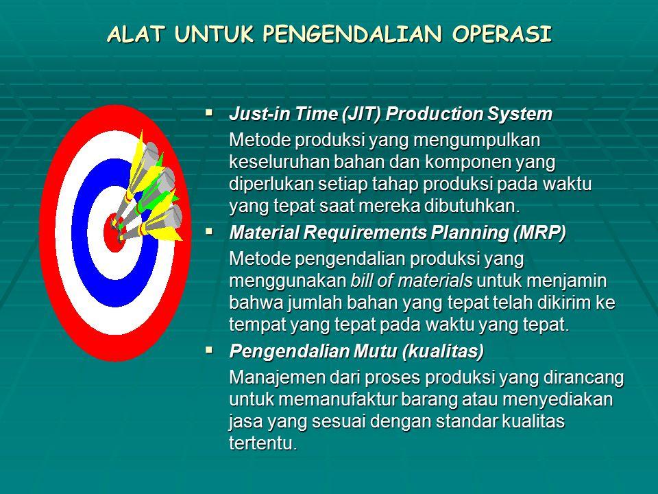 ALAT UNTUK PENGENDALIAN OPERASI  Just-in Time (JIT) Production System Metode produksi yang mengumpulkan keseluruhan bahan dan komponen yang diperlukan setiap tahap produksi pada waktu yang tepat saat mereka dibutuhkan.