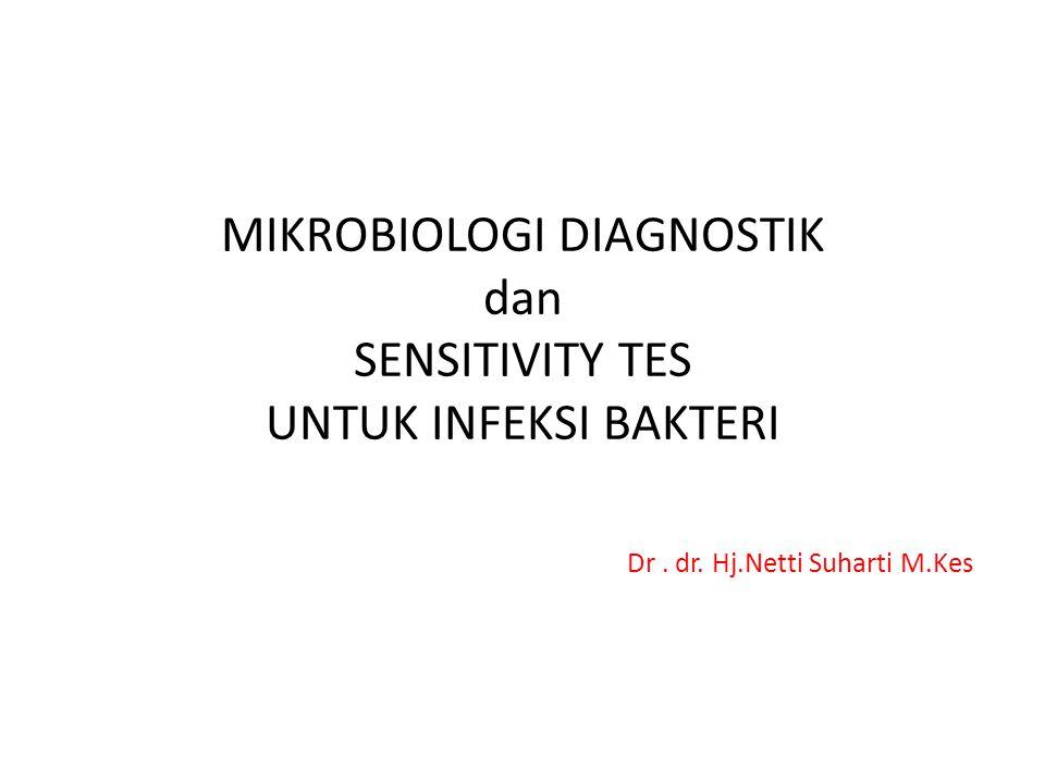 MIKROBIOLOGI DIAGNOSTIK dan SENSITIVITY TES UNTUK INFEKSI BAKTERI Dr. dr. Hj.Netti Suharti M.Kes