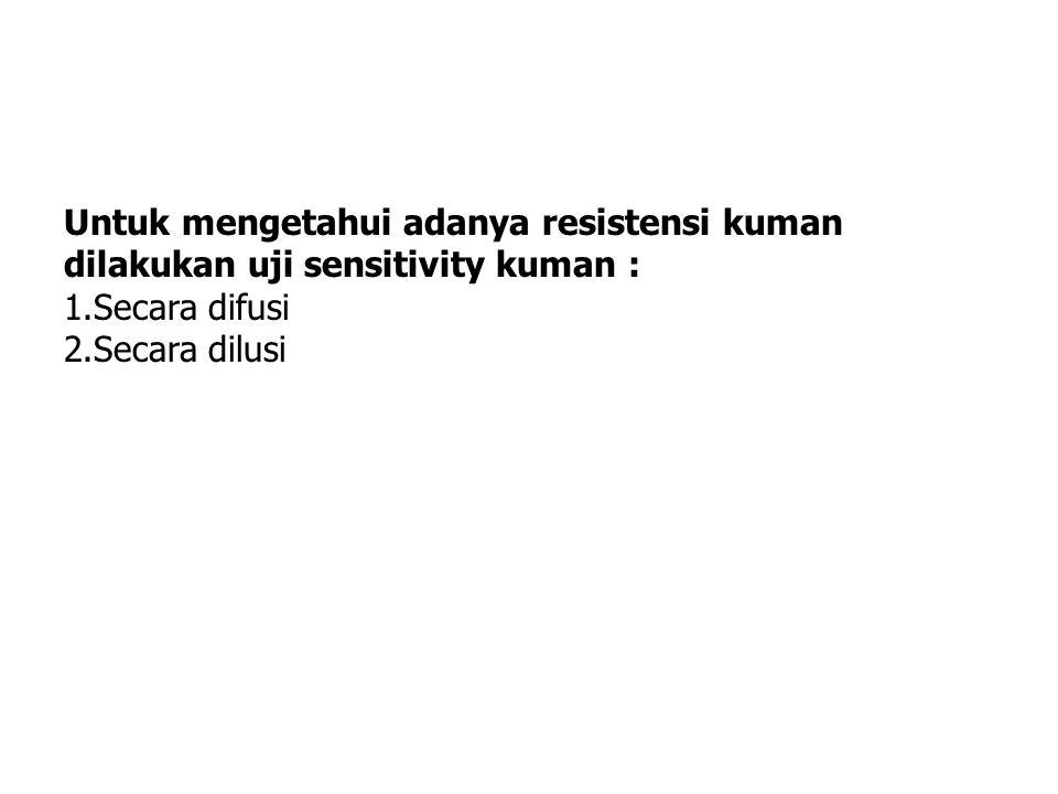 Untuk mengetahui adanya resistensi kuman dilakukan uji sensitivity kuman : 1.Secara difusi 2.Secara dilusi