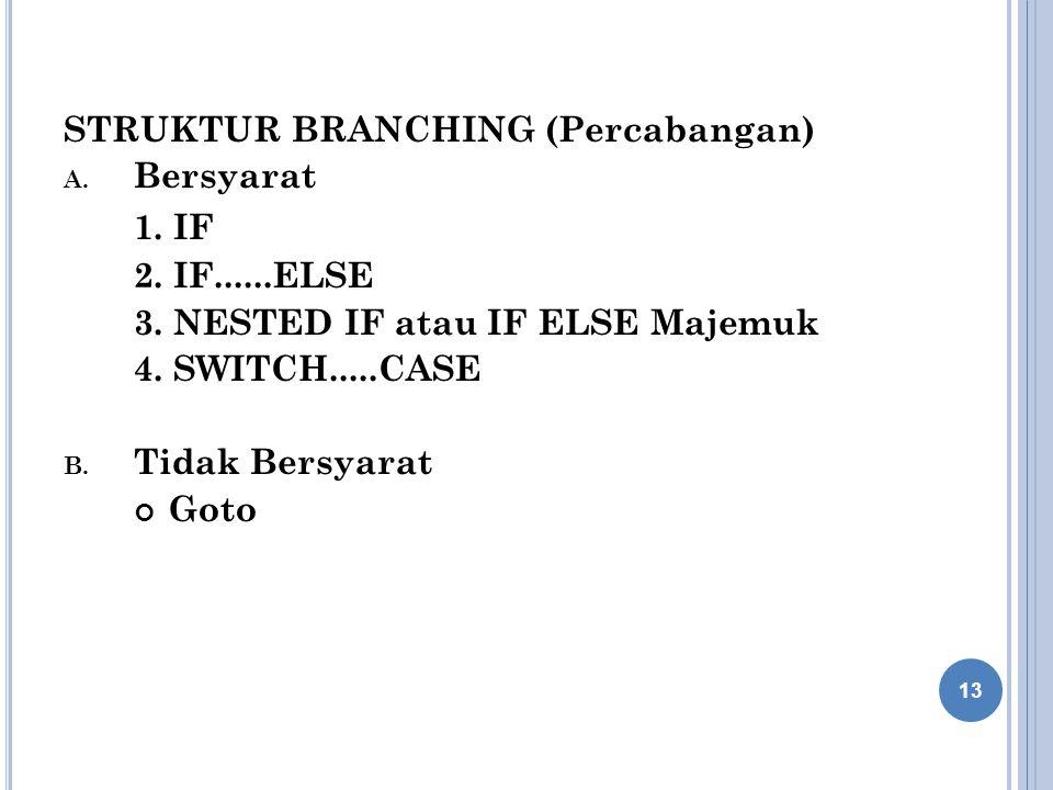 STRUKTUR BRANCHING (Percabangan) A.Bersyarat 1. IF 2.