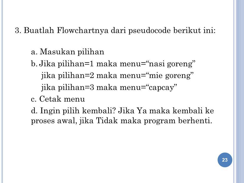 3.Buatlah Flowchartnya dari pseudocode berikut ini: a.