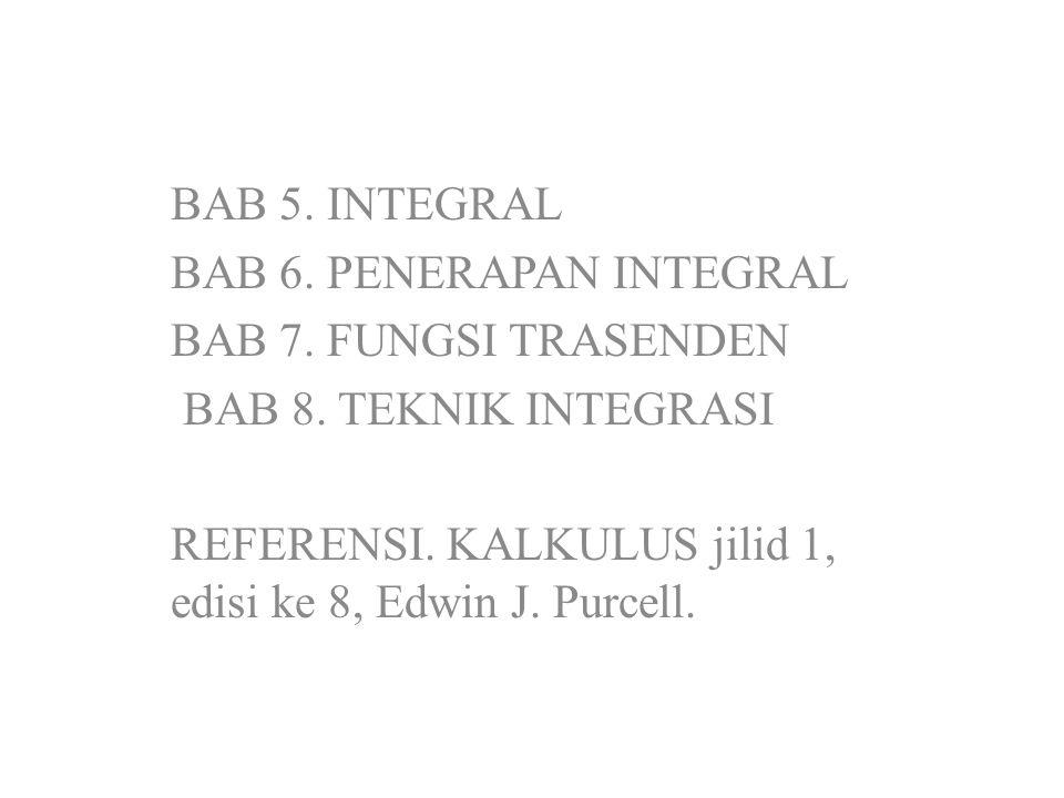 BAB 5. INTEGRAL BAB 6. PENERAPAN INTEGRAL BAB 7. FUNGSI TRASENDEN BAB 8. TEKNIK INTEGRASI REFERENSI. KALKULUS jilid 1, edisi ke 8, Edwin J. Purcell.