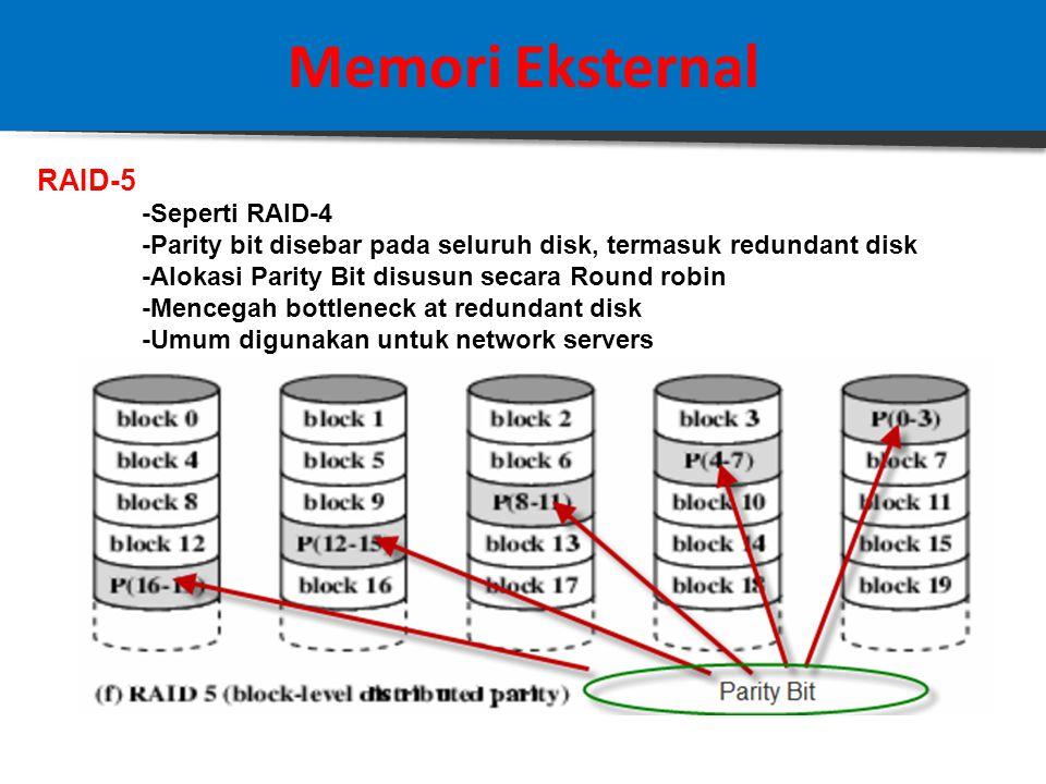 25 Memori Eksternal RAID-4 -Setiap disk dioperasikan secara independent, tdk disinkronisasi -Cocok untuk kebutuhan akses I/O yang tinggi -Ukuran Stripes besar-besar -Bit by bit parity dihitung untuk setiap disk -Parity bit disimpan di redundant disk