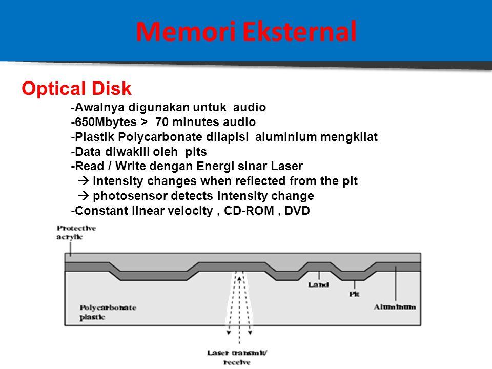 Memori Eksternal RAID-6 -Double Parity P() dan Q() -Disebar merata keseluruh disk -Kebutuhan N disks adalah N+2 -Cocok untuk data volume tinggi