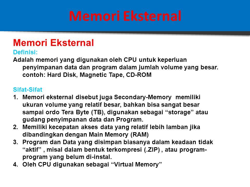 Memori Eksternal Karakteristik penting dari sebuah sistem disk adalah : 1.