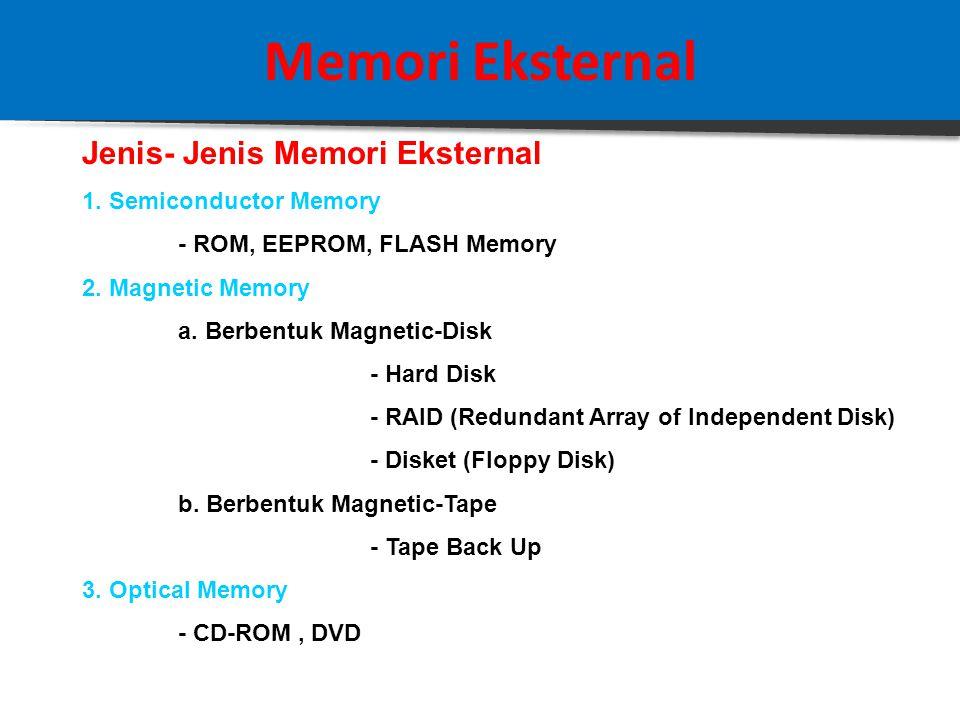 Memori Eksternal Definisi: Adalah memori yang digunakan oleh CPU untuk keperluan penyimpanan data dan program dalam jumlah volume yang besar.