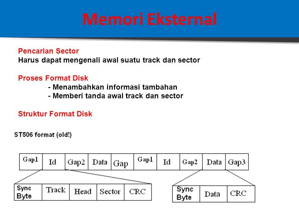 Memori Eksternal Pencarian Sector Harus dapat mengenali awal suatu track dan sector Proses Format Disk - Menambahkan informasi tambahan - Memberi tanda awal track dan sector Struktur Format Disk