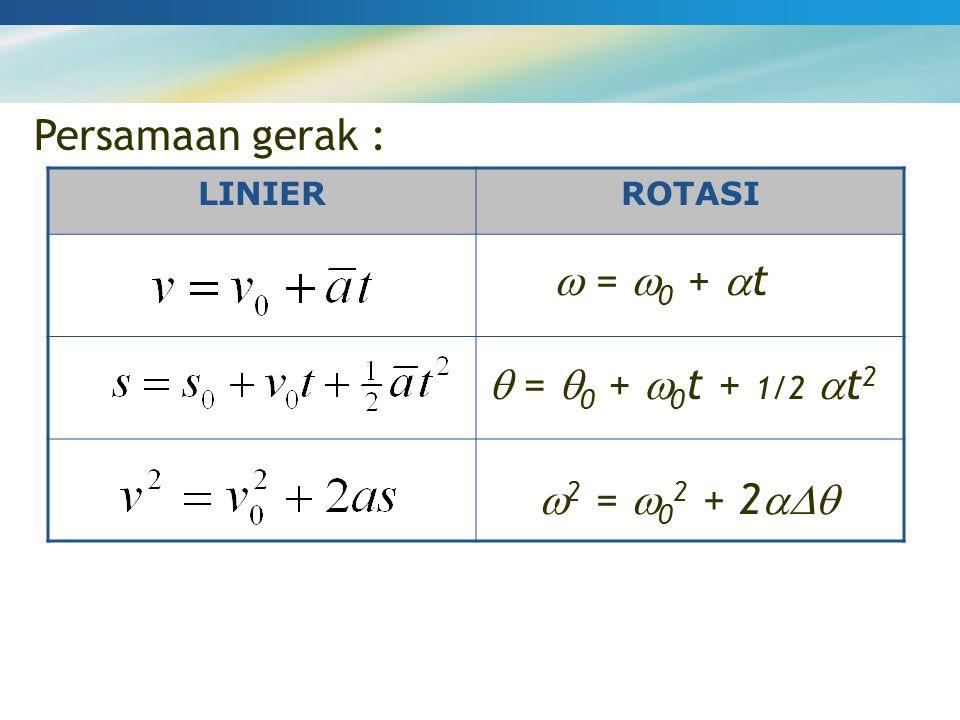 Persamaan gerak : LINIERROTASI  =  0 +  t  =  0 +  0 t + 1/2  t 2  2 =  0 2 + 2 