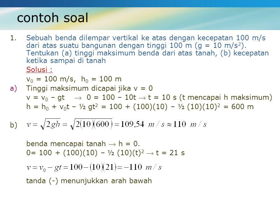 contoh soal 1.Sebuah benda dilempar vertikal ke atas dengan kecepatan 100 m/s dari atas suatu bangunan dengan tinggi 100 m (g = 10 m/s 2 ). Tentukan (