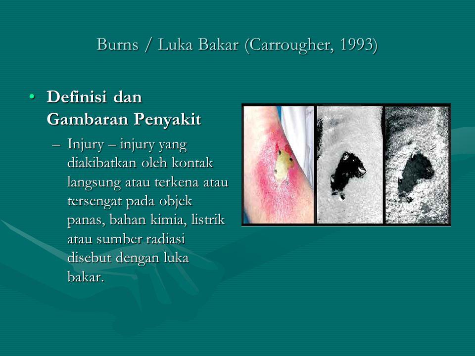 Burns / Luka Bakar (Carrougher, 1993) Definisi dan Gambaran PenyakitDefinisi dan Gambaran Penyakit –Injury – injury yang diakibatkan oleh kontak langs