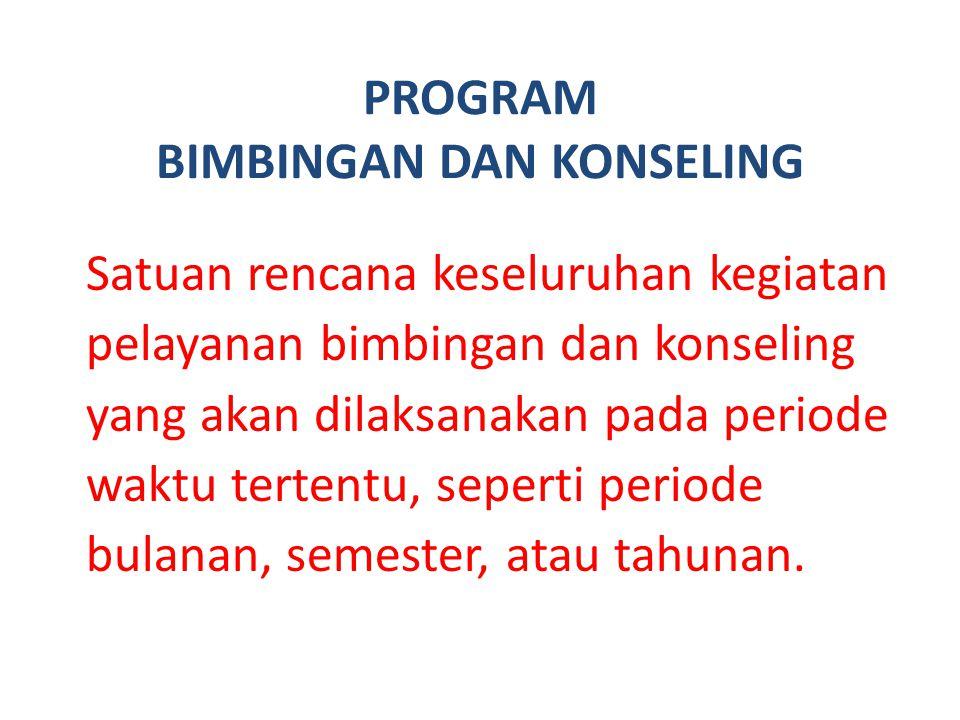 PROGRAM BIMBINGAN DAN KONSELING Satuan rencana keseluruhan kegiatan pelayanan bimbingan dan konseling yang akan dilaksanakan pada periode waktu terten