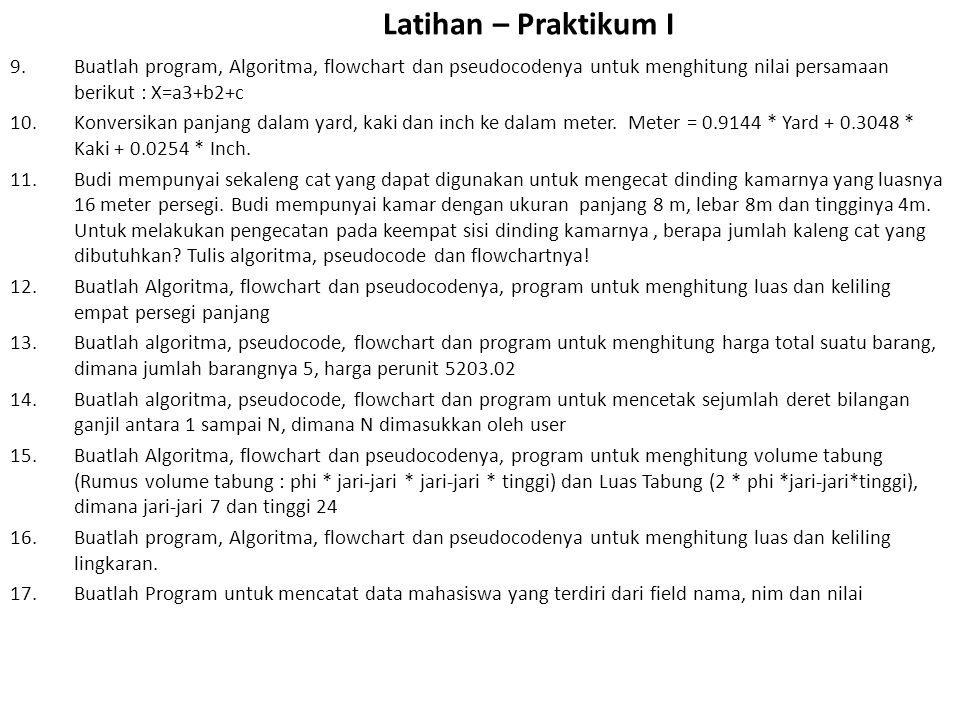 Latihan – Praktikum I 9.Buatlah program, Algoritma, flowchart dan pseudocodenya untuk menghitung nilai persamaan berikut : X=a3+b2+c 10.Konversikan panjang dalam yard, kaki dan inch ke dalam meter.
