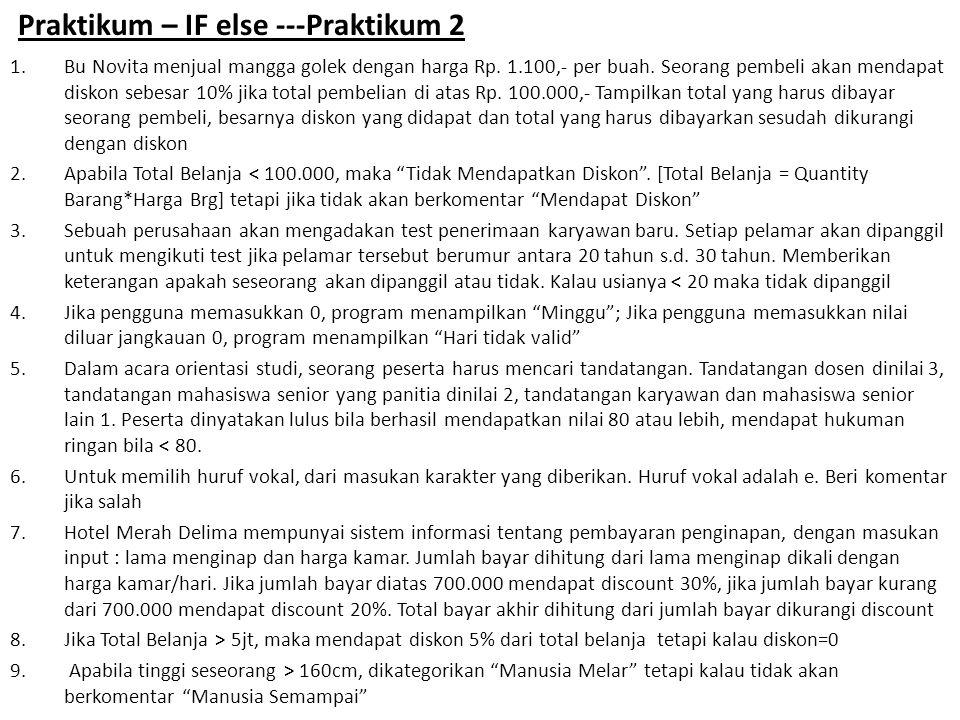 Tugas Praktikum 7 Dila  1 Dean  2 Rizky  3 Thomas  4 Muslim  5 – Soal 6, 7, 8 dan 9 dikerjakan oleh seluruh praktikan