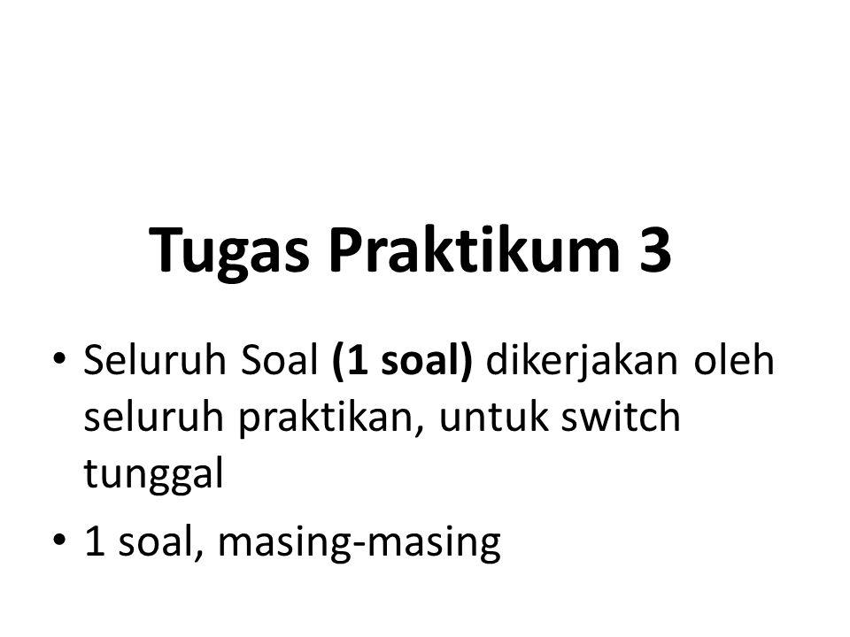 Tugas Praktikum 3 Seluruh Soal (1 soal) dikerjakan oleh seluruh praktikan, untuk switch tunggal 1 soal, masing-masing