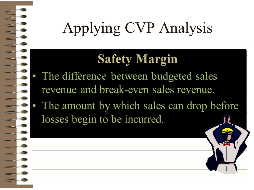 Applying CVP Analysis Safety Margin The difference between budgeted sales revenue and break-even sales revenue. The amount by which sales can drop bef