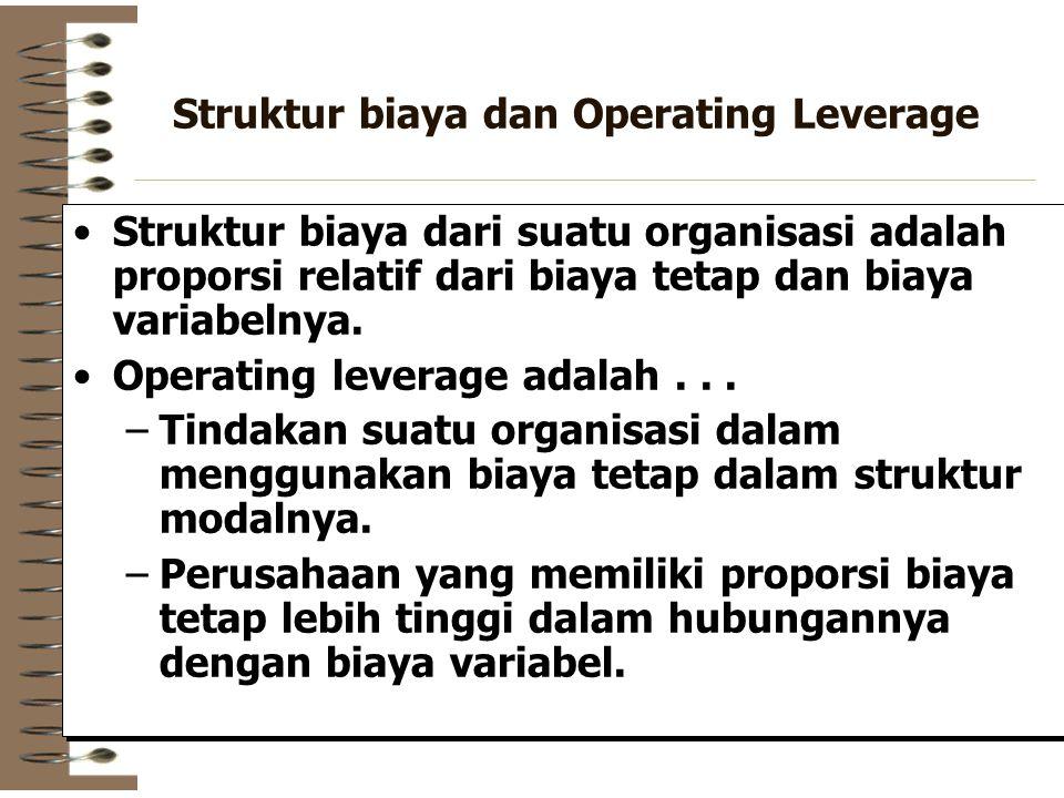 Struktur biaya dan Operating Leverage Struktur biaya dari suatu organisasi adalah proporsi relatif dari biaya tetap dan biaya variabelnya. Operating l