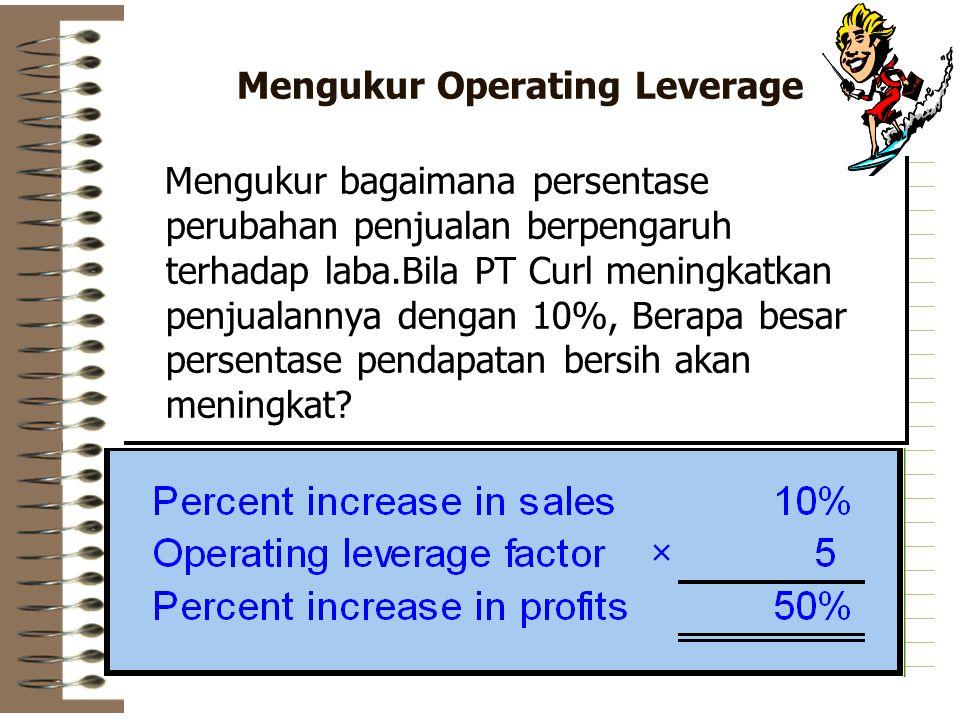 Mengukur Operating Leverage Mengukur bagaimana persentase perubahan penjualan berpengaruh terhadap laba.Bila PT Curl meningkatkan penjualannya dengan 10%, Berapa besar persentase pendapatan bersih akan meningkat?