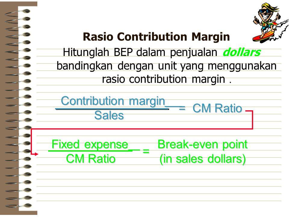 Rasio Contribution Margin Hitunglah BEP dalam penjualan dollars bandingkan dengan unit yang menggunakan rasio contribution margin. Contribution margin