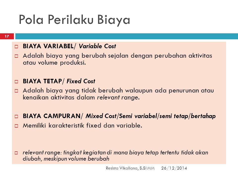Pola Perilaku Biaya 26/12/2014Resista Vikaliana, S.Si MM 17  BIAYA VARIABEL/ Variable Cost  Adalah biaya yang berubah sejalan dengan perubahan aktiv
