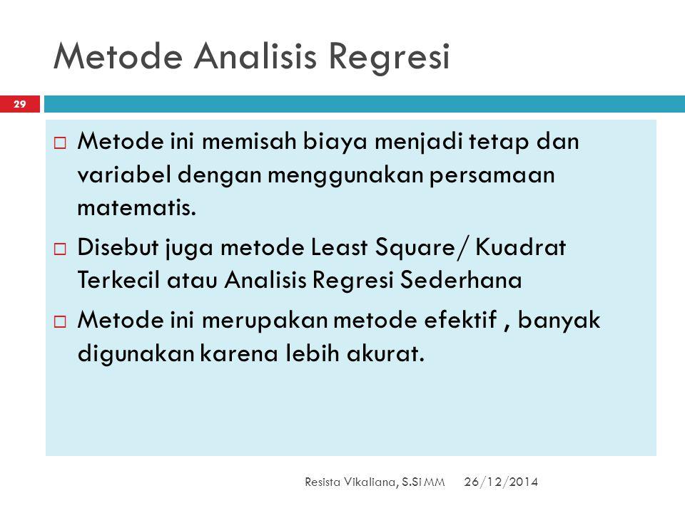 Metode Analisis Regresi 26/12/2014Resista Vikaliana, S.Si MM 29  Metode ini memisah biaya menjadi tetap dan variabel dengan menggunakan persamaan mat