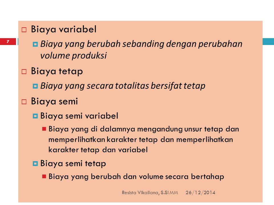 26/12/2014Resista Vikaliana, S.Si MM 18  Mengapa perlu menetapkan fixed dan varible cost.