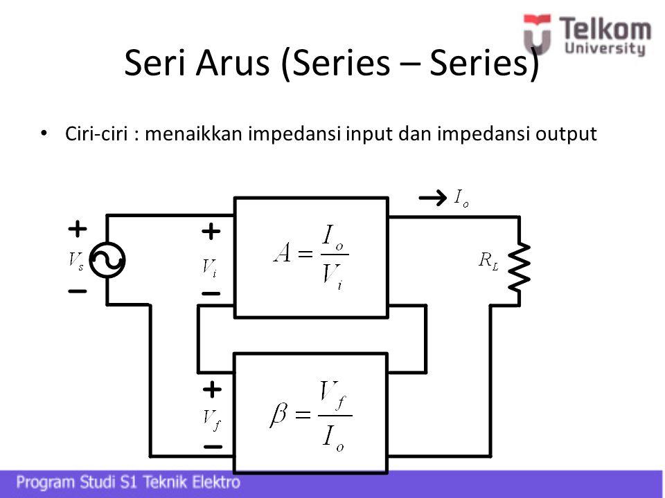 Seri Arus (Series – Series) Ciri-ciri : menaikkan impedansi input dan impedansi output