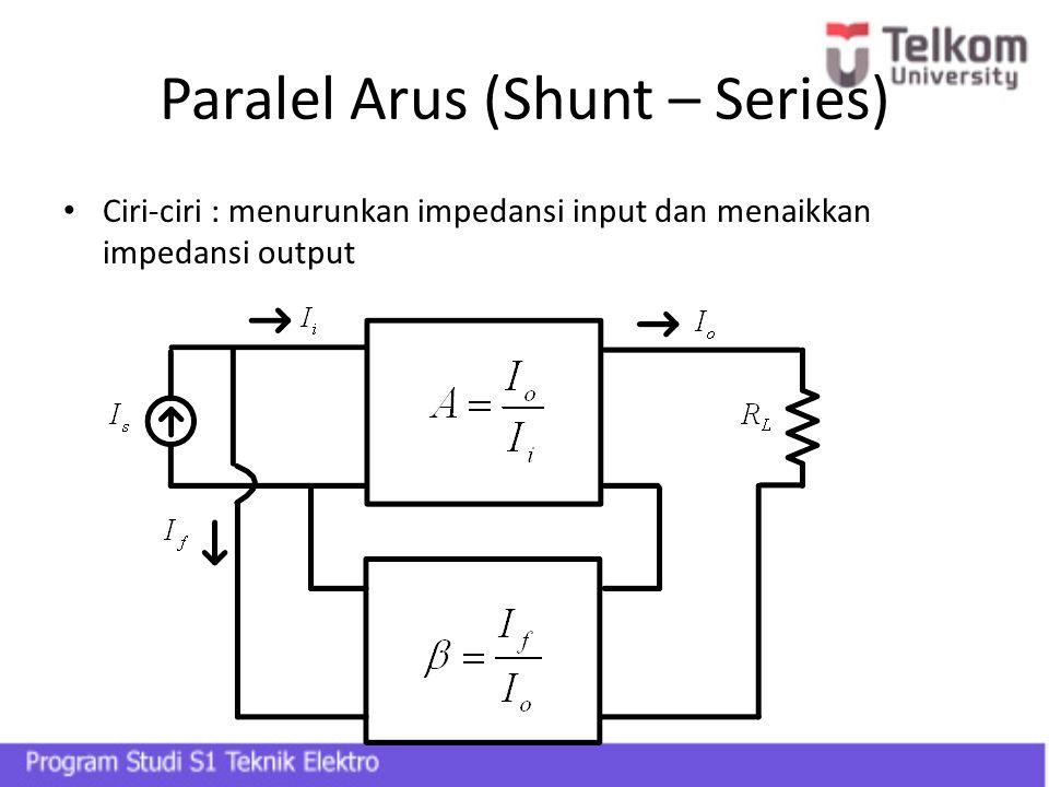 Paralel Arus (Shunt – Series) Ciri-ciri : menurunkan impedansi input dan menaikkan impedansi output