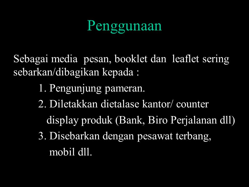 Contoh Spesifikasi Program Media Booklet-Leaflet 1.