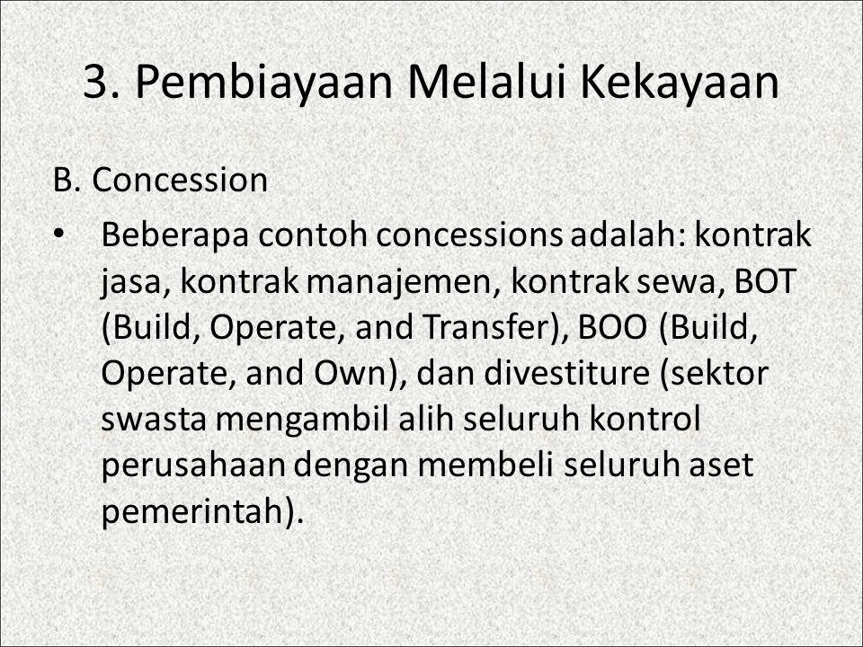 3. Pembiayaan Melalui Kekayaan B. Concession Beberapa contoh concessions adalah: kontrak jasa, kontrak manajemen, kontrak sewa, BOT (Build, Operate, a