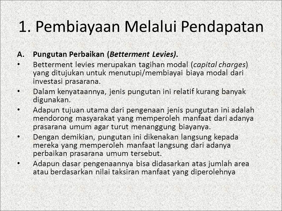 1. Pembiayaan Melalui Pendapatan A.Pungutan Perbaikan (Betterment Levies). Betterment levies merupakan tagihan modal (capital charges) yang ditujukan