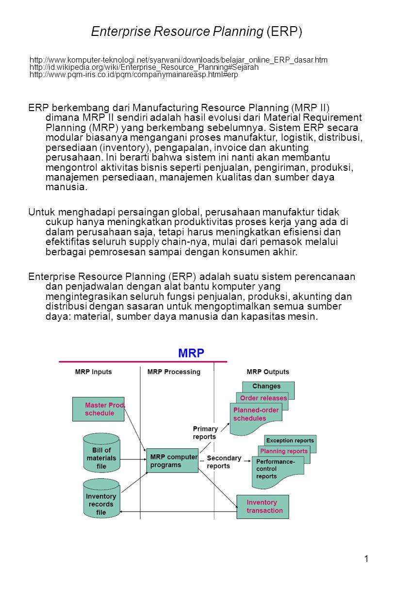 1 ERP berkembang dari Manufacturing Resource Planning (MRP II) dimana MRP II sendiri adalah hasil evolusi dari Material Requirement Planning (MRP) yang berkembang sebelumnya.