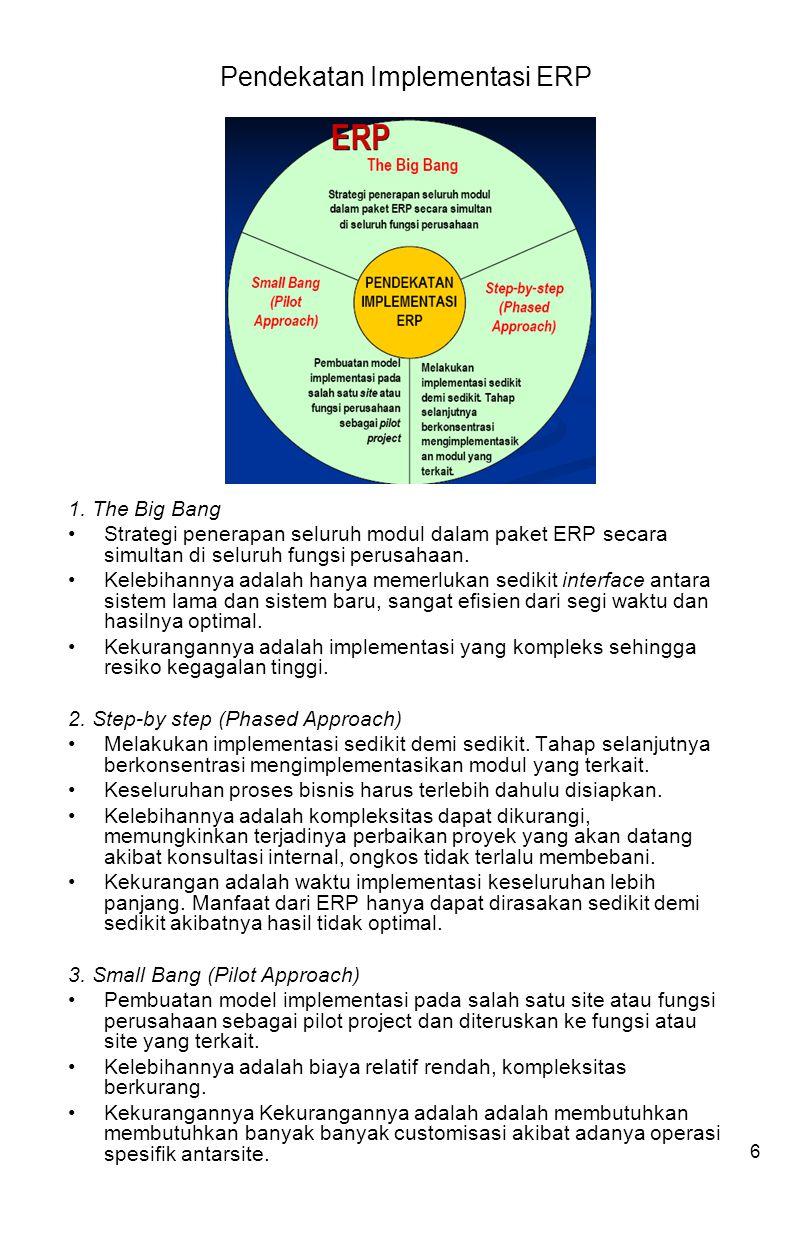 6 Pendekatan Implementasi ERP 1. The Big Bang Strategi penerapan seluruh modul dalam paket ERP secara simultan di seluruh fungsi perusahaan. Kelebihan