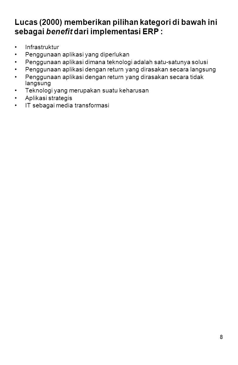 8 Lucas (2000) memberikan pilihan kategori di bawah ini sebagai benefit dari implementasi ERP : Infrastruktur Penggunaan aplikasi yang diperlukan Penggunaan aplikasi dimana teknologi adalah satu-satunya solusi Penggunaan aplikasi dengan return yang dirasakan secara langsung Penggunaan aplikasi dengan return yang dirasakan secara tidak langsung Teknologi yang merupakan suatu keharusan Aplikasi strategis IT sebagai media transformasi