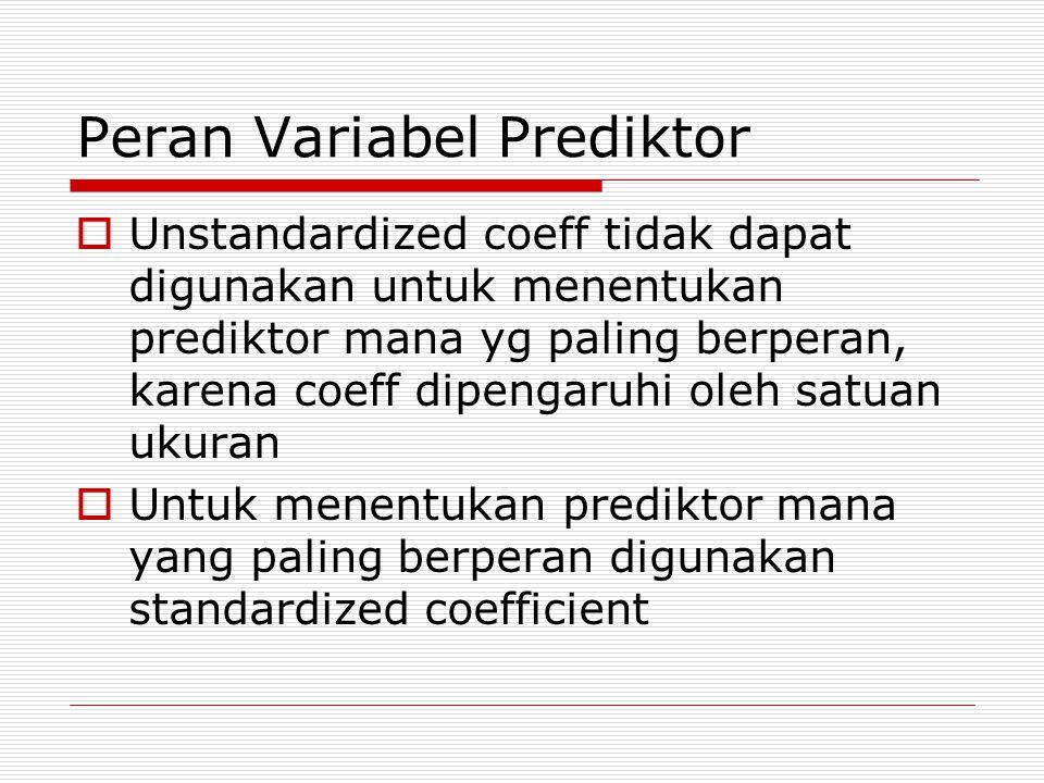 Peran Variabel Prediktor  Unstandardized coeff tidak dapat digunakan untuk menentukan prediktor mana yg paling berperan, karena coeff dipengaruhi oleh satuan ukuran  Untuk menentukan prediktor mana yang paling berperan digunakan standardized coefficient