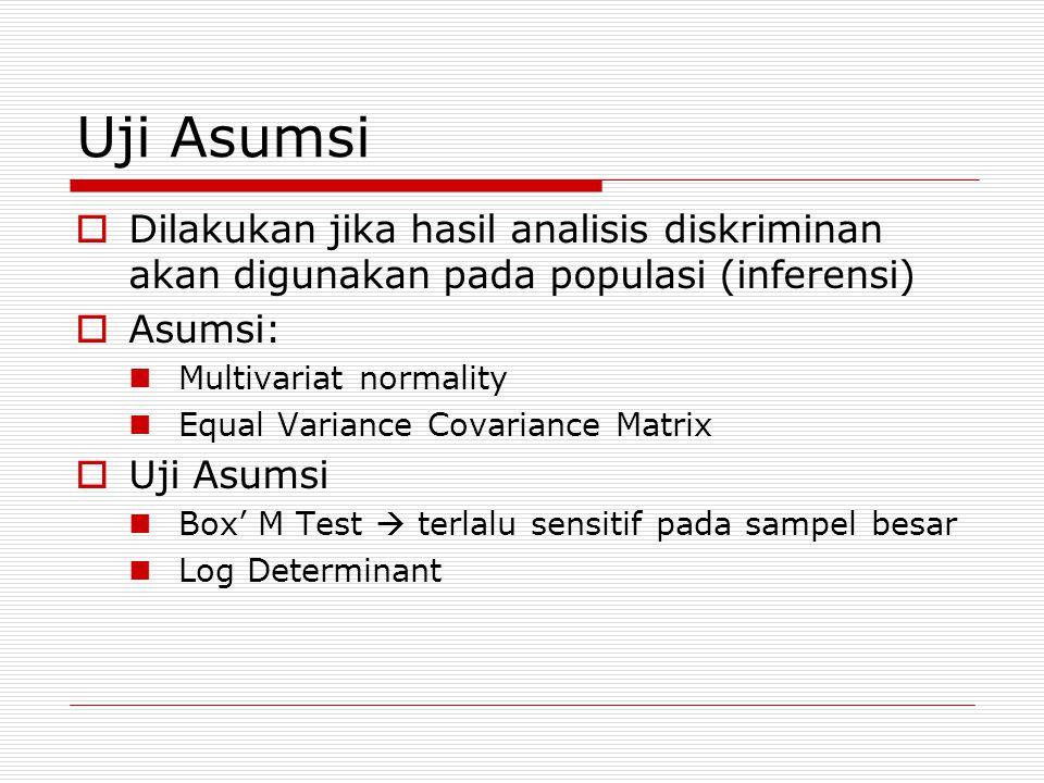 Uji Asumsi  Dilakukan jika hasil analisis diskriminan akan digunakan pada populasi (inferensi)  Asumsi: Multivariat normality Equal Variance Covariance Matrix  Uji Asumsi Box' M Test  terlalu sensitif pada sampel besar Log Determinant