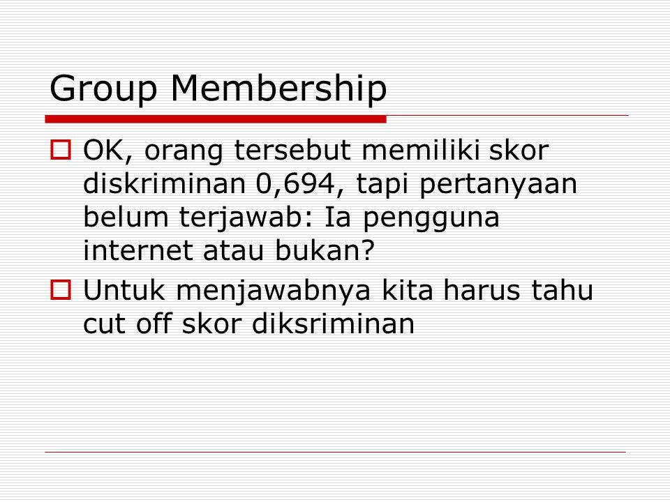 Group Membership  OK, orang tersebut memiliki skor diskriminan 0,694, tapi pertanyaan belum terjawab: Ia pengguna internet atau bukan?  Untuk menjaw