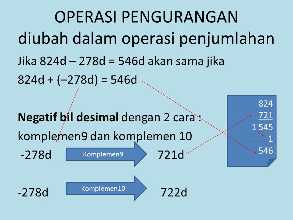 OPERASI PENGURANGAN diubah dalam operasi penjumlahan Jika 824d – 278d = 546d akan sama jika 824d + (–278d) = 546d Negatif bil desimal dengan 2 cara : komplemen9 dan komplemen 10 -278d 721d -278d 722d Komplemen9 Komplemen10 824 721 1 545 1 546