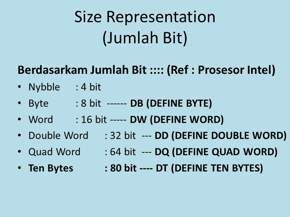Size Representation (Jumlah Bit) Berdasarkam Jumlah Bit :::: (Ref : Prosesor Intel) Nybble : 4 bit Byte : 8 bit ------ DB (DEFINE BYTE) Word : 16 bit ----- DW (DEFINE WORD) Double Word: 32 bit --- DD (DEFINE DOUBLE WORD) Quad Word: 64 bit --- DQ (DEFINE QUAD WORD) Ten Bytes: 80 bit ---- DT (DEFINE TEN BYTES)
