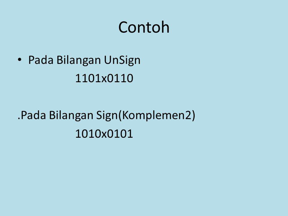 Contoh Pada Bilangan UnSign 1101x0110.Pada Bilangan Sign(Komplemen2) 1010x0101