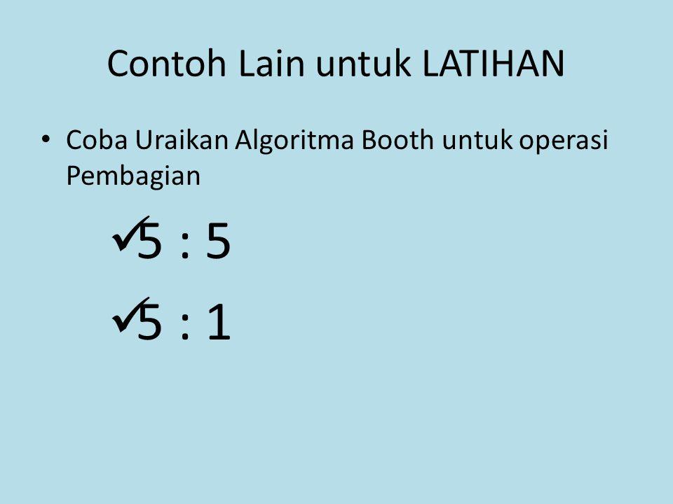 Contoh Lain untuk LATIHAN Coba Uraikan Algoritma Booth untuk operasi Pembagian 5 : 5 5 : 1