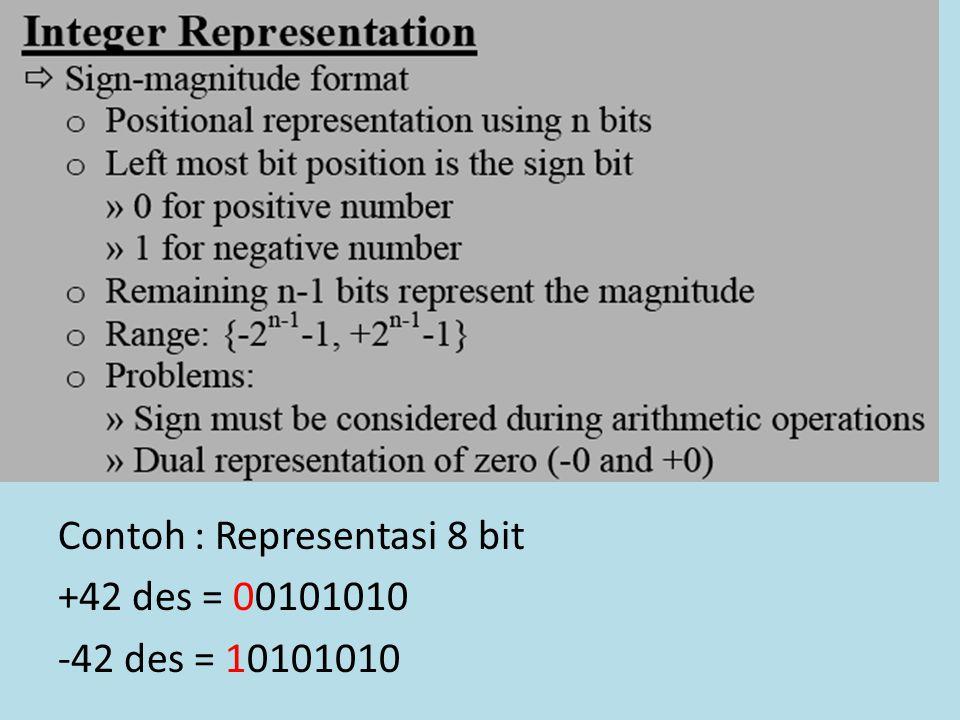 Contoh : Representasi 8 bit +42 des = 00101010 -42 des = 10101010