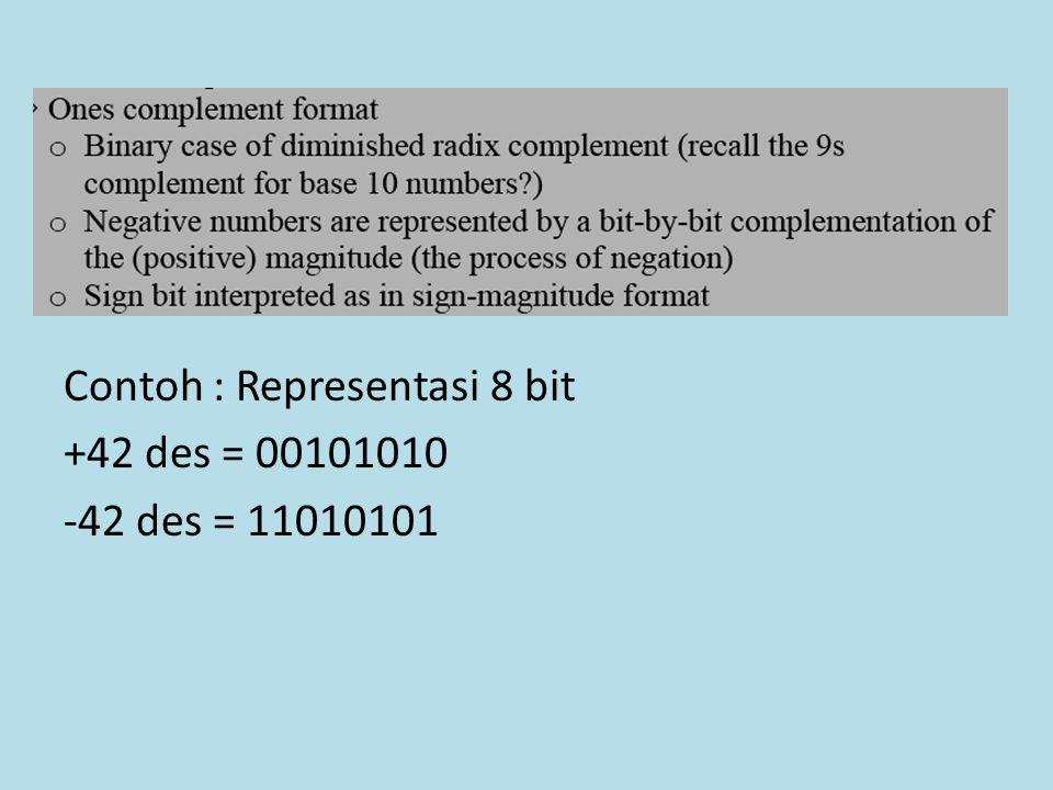 Contoh : Representasi 8 bit +42 des = 00101010 -42 des = 11010101