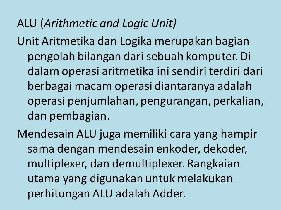 ALU (Arithmetic and Logic Unit) Unit Aritmetika dan Logika merupakan bagian pengolah bilangan dari sebuah komputer. Di dalam operasi aritmetika ini se